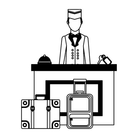 hotel manager reception bell key and suitcases vector illustration Reklamní fotografie - 114997468