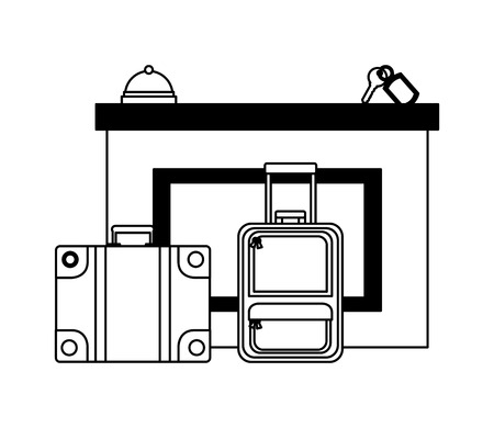 hotel reception suitcases bell and key suite vector illustration Banco de Imagens - 114997469