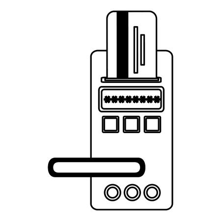 hotel door digital panel with card access vector illustration Foto de archivo - 114997476