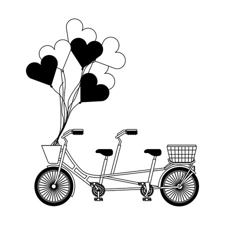 vintage tandem bicycle with basket and hearts balloons vector illustration