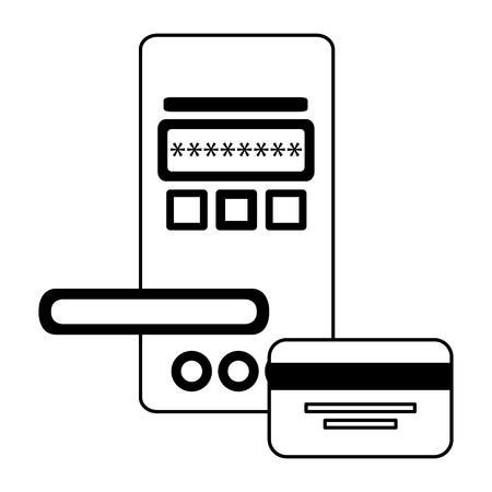 hotel door digital panel with card access vector illustration Illustration