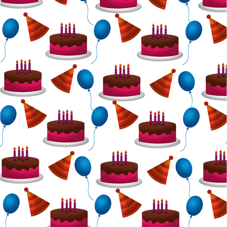 sweet cake with balloons helium and hat party pattern vector illustration design Stockfoto - 114997507