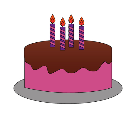 sweet cake with candles vector illustration design Çizim