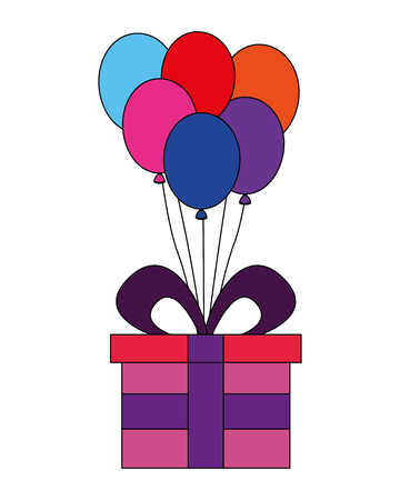 gift box present with balloons helium isolated icon vector illustration design