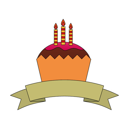 sweet cupcake with candles and ribbon isolated icon vector illustration design