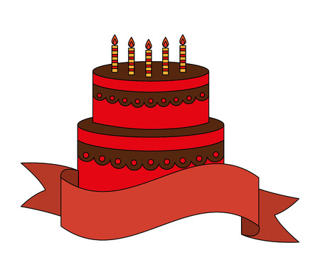 sweet cake with candles and ribbon isolated icon vector illustration design Illusztráció