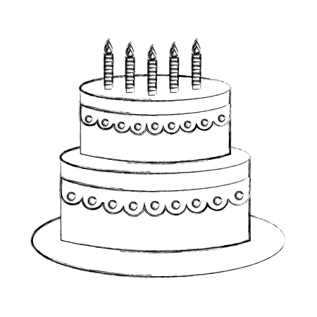 sweet birthday cake with candles decoration vector illustration sketch