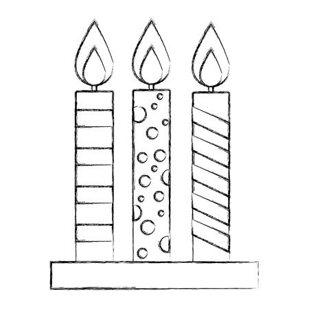 three decorative candles burning celebration vector illustration sketch Illustration
