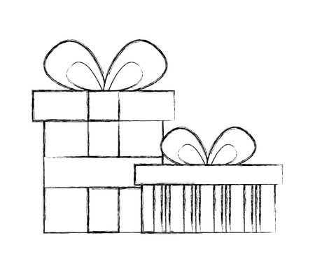 two birthday present boxes party celebration vector illustration sketch