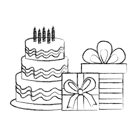 delicious birthday cake and gift boxes party vector illustration sketch Illustration