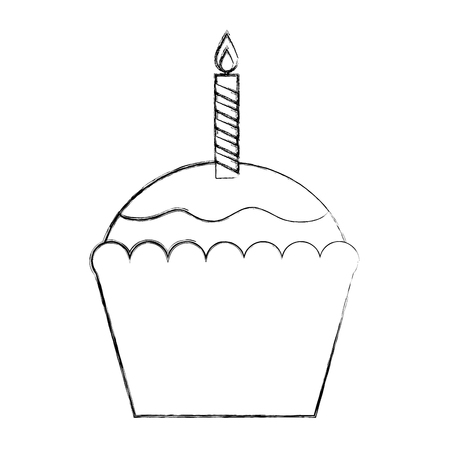 birthday cupcake with candle sweet pastry vector illustration sketch