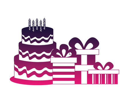 sweet cake with candles and gifts boxes icon vector illustration design