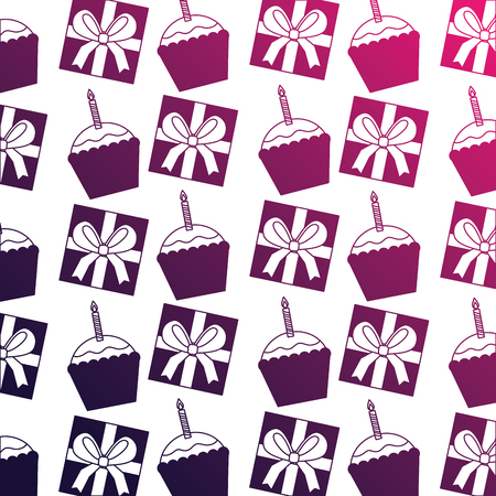 gifts boxes present with cupcake and candle pattern vector illustration design  イラスト・ベクター素材