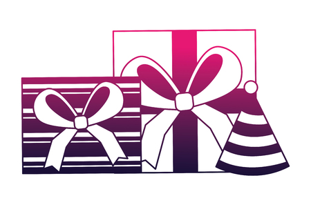 gifts boxes present with party hat icon vector illustration design