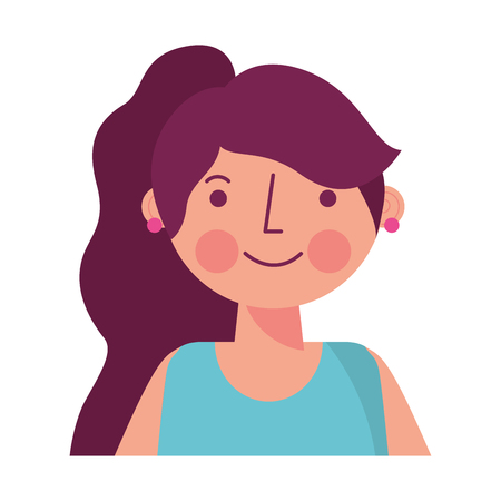 portrait people woman young character vector illustration