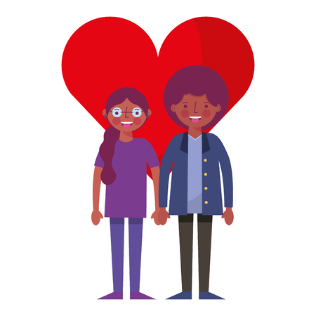 happy couple together in heart love vector illustration Illustration