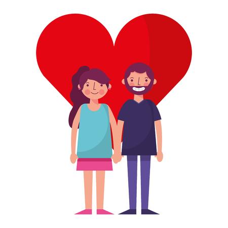 happy couple together in heart love vector illustration Illusztráció