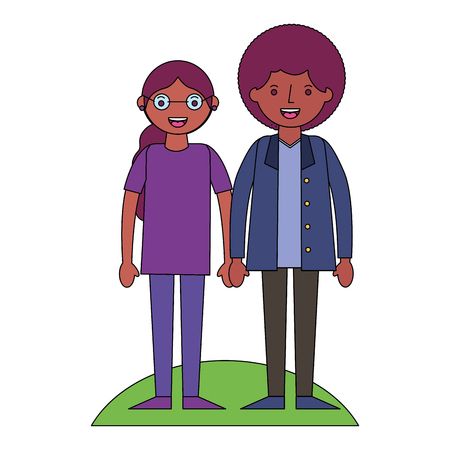 couple holding hands in the meadow vector illustration