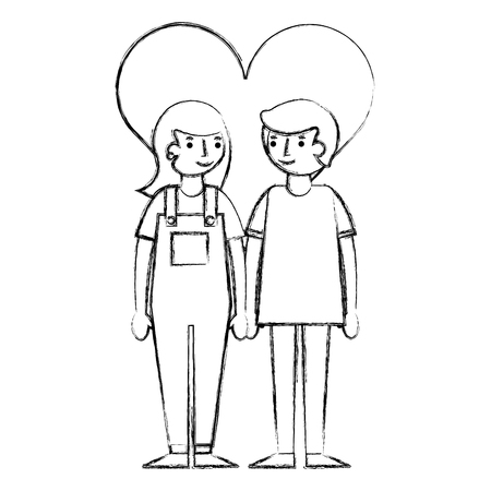 young couple together with heart characters vector illustration design Illustration