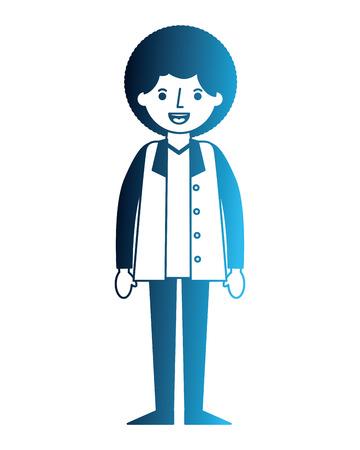 man character male cartoon image vector illustration neon blue