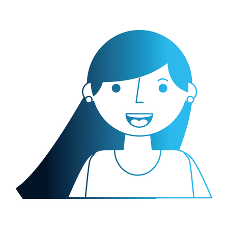 portrait people woman young character vector illustration neon blue
