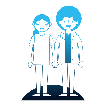 couple holding hands standing together vector illustration neon blue