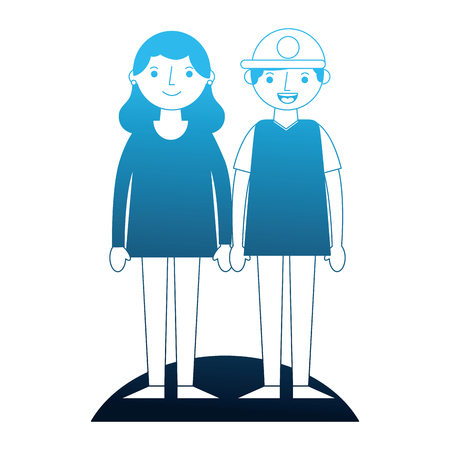 couple holding hands standing together vector illustration neon blue Stock Vector - 114997878