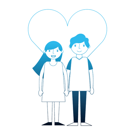 happy couple together in heart love vector illustration neon blue