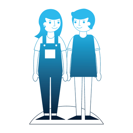 couple holding hands standing together vector illustration neon blue Stock Vector - 114997889