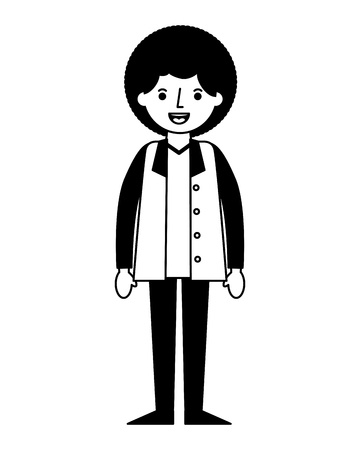 man character male cartoon image vector illustration black and white
