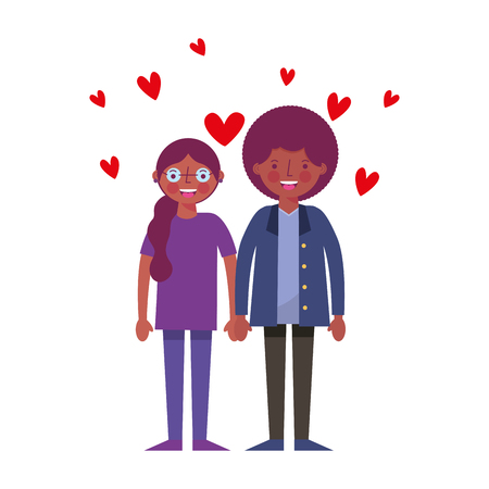 african couple lovers with hearts character vector illustration  イラスト・ベクター素材