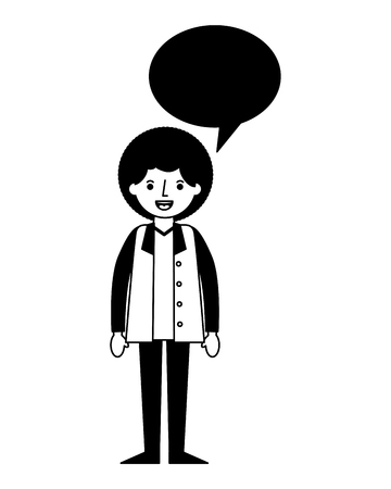 man character people speech bubble vector illustration black and white