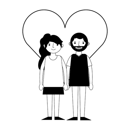 happy couple together in heart love vector illustration black and white