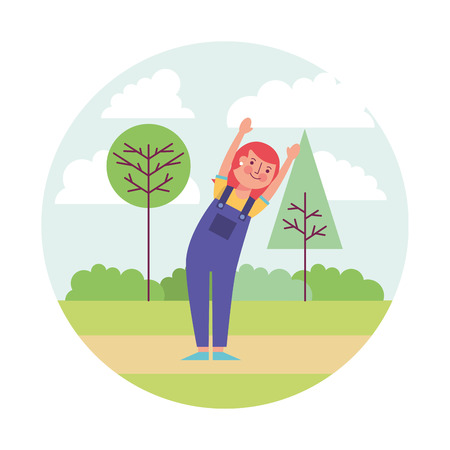 woman athlete working out with landscape vector illustration design