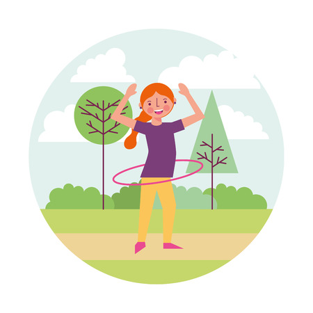 woman athlete with hula hula in landscape vector illustration