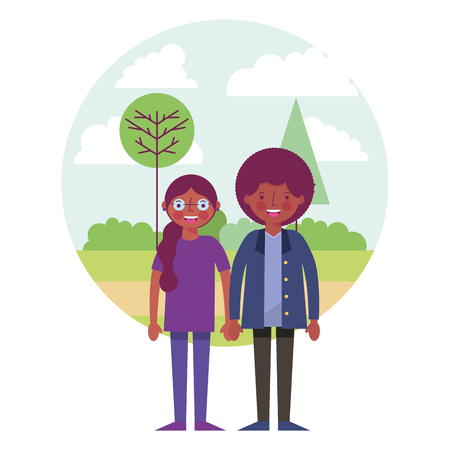 african couple with landscape avatar character vector illustration design