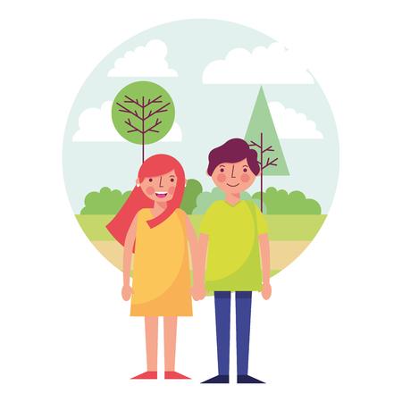 young couple together with landscape icon vector illustration design Ilustração