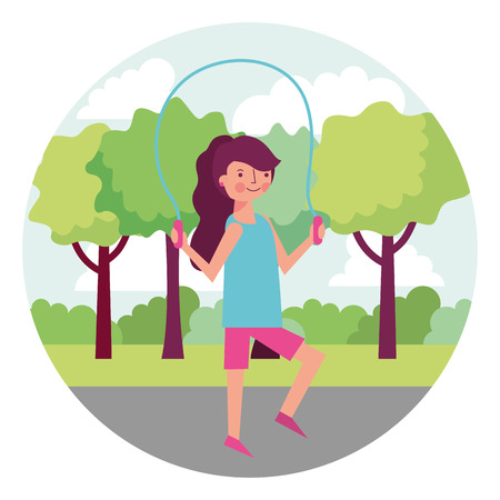 woman athlete jumping rope with landscape vector illustration design Stock Illustratie