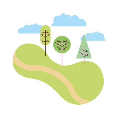 landscape with trees plants icon vector illustration design  イラスト・ベクター素材