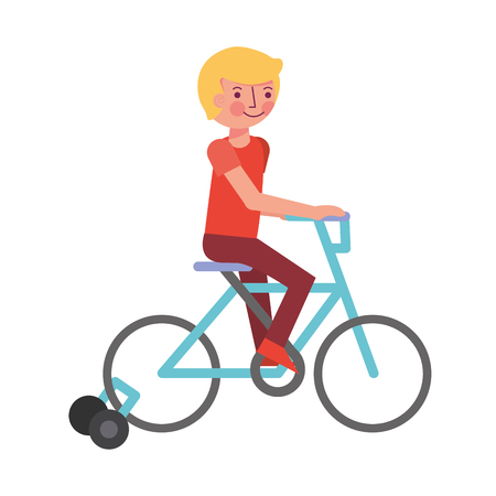 little boy in bicycle with auxiliary rims vector illustration design