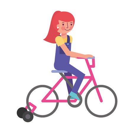 little girl in bicycle with auxiliary rims vector illustration design