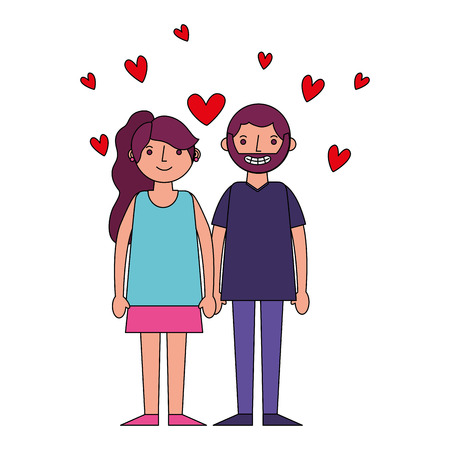 couple romantic holding hands and hearts love vector illustration