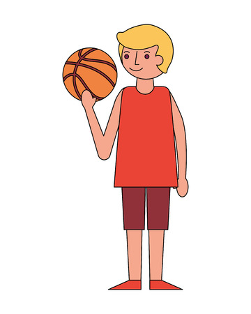 young man holding basketball ball vector illustration