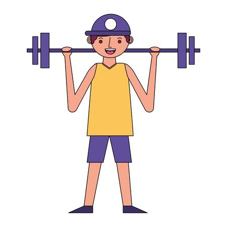 young man lifting barbell training sport vector illustration Illustration