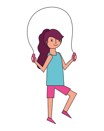 young woman jump rope activity vector illustration Ilustrace