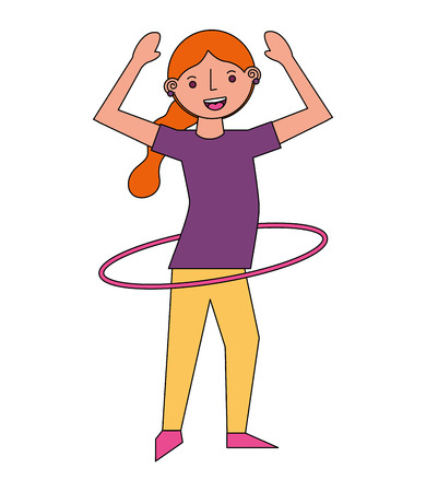woman cartoon practicing with hula hoop vector illustration