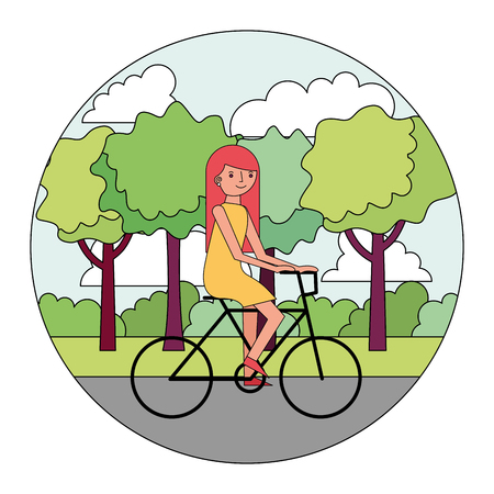 woman cartoon practicing exercise in the park vector illustration Illustration