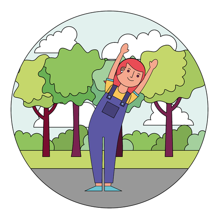 woman cartoon raised arms character in the park vector illustration