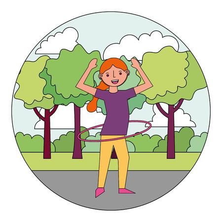 woman cartoon practicing exercise in the park vector illustration Illusztráció