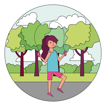 woman cartoon practicing exercise in the park vector illustration Ilustrace